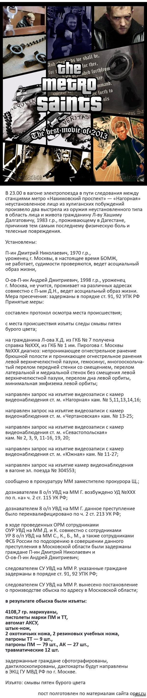 Нашли стрелков-мстителей из московского метро Все мы помним двух отчаянных стрелков, перевозивших таинственную сумку и то-ли давших отпор, то-ли напавших на дагестанца в московском метро. Их таки нашли.