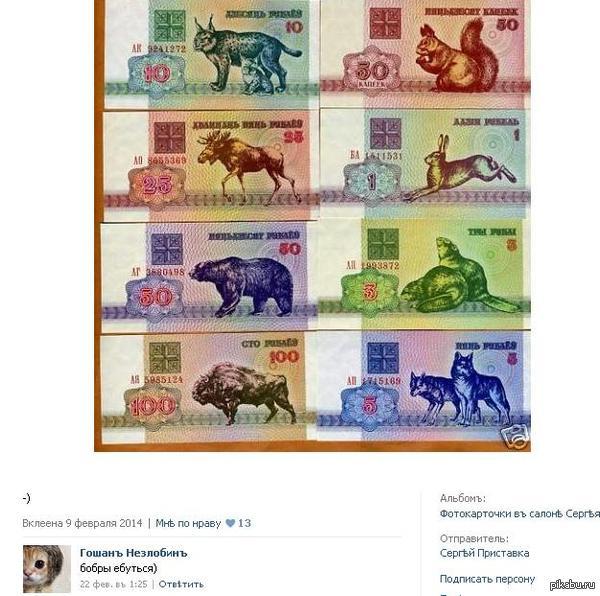 Бобры они такие фотка старой белорусской валюты. коммент друга порадовал  P.S. клубничку не ставлю... хотя мало ли