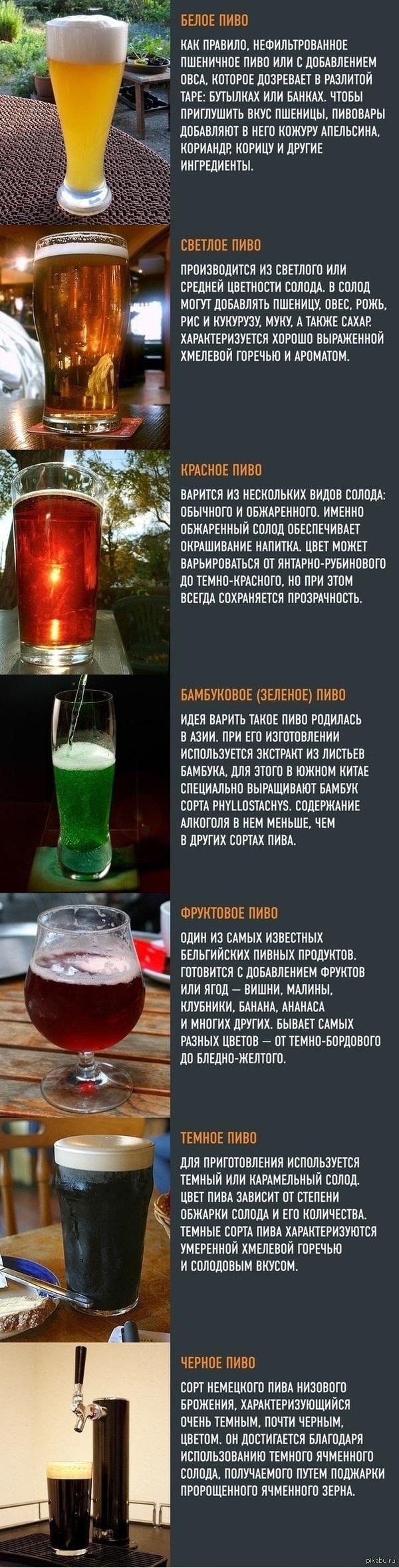 Какое бывает пиво Возможно не все сорта указаны!