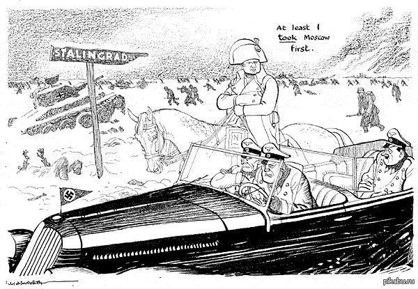 Британская карикатура Призрак Наполеона замерзающим немцам, бегущим от Сталинграда: «Я сначала хоть Москву взял!»