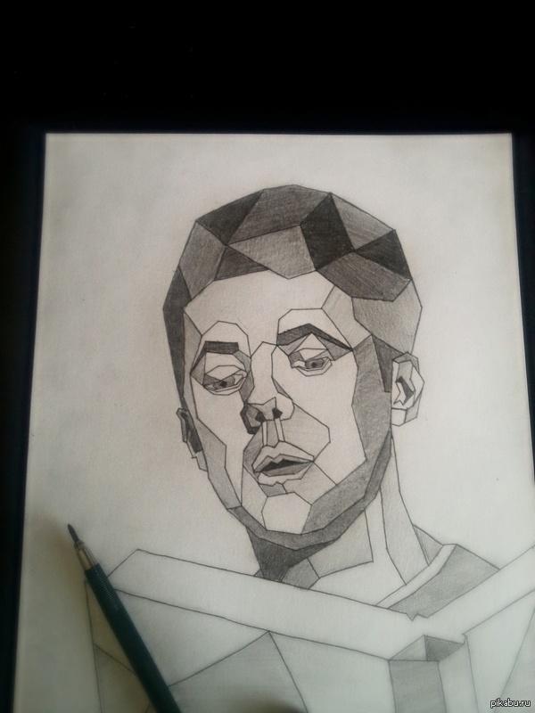 Мой первый пост, не судите строго) Портрет учителя литературы, который я собираюсь вручить ему на последнем звонке, оригинал внутри Чувак увлекается авангардной литературой, и это обусловило стиль портрета. Сделано простым карандашом