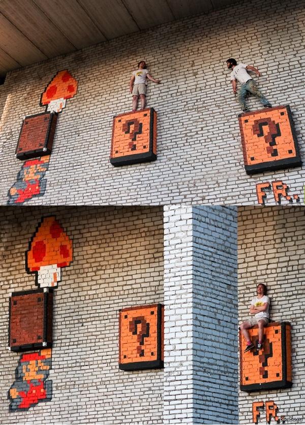 Граффити, посвященное Mario Super Bros. Добрянка, Пермский край