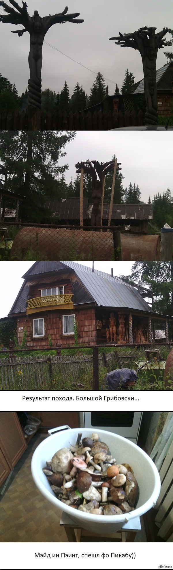 Ездил за грибами, и проезжая по деревне увидел вот это. Простите за качество, фото делал телефоном.  чудо сие находится в д. Сабик, Свердловская область.