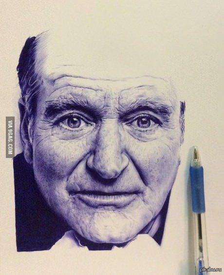 Портрет Робина Уильямса, нарисованный ручкой
