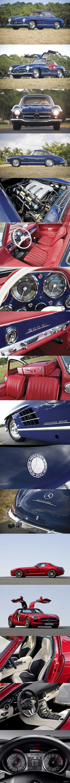 "Немецкая порода - Дед и внук. 1955 Mercedes-Benz 300SL ""Gullwing"" VS Mercedes-Benz SLS AMG"