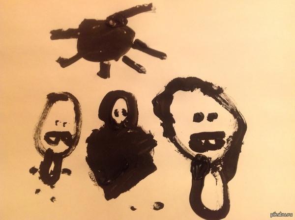 Доча нарисовала Нарисовала доча. Интересно что скажет психолог? Посредине кстати я.