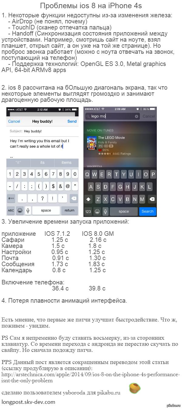 Проблемы ios 8 на iPhone 4s сокращенный перевод этой статьи:  http://arstechnica.com/apple/2014/09/ios-8-on-the-iphone-4s-performance-isnt-the-only-problem/