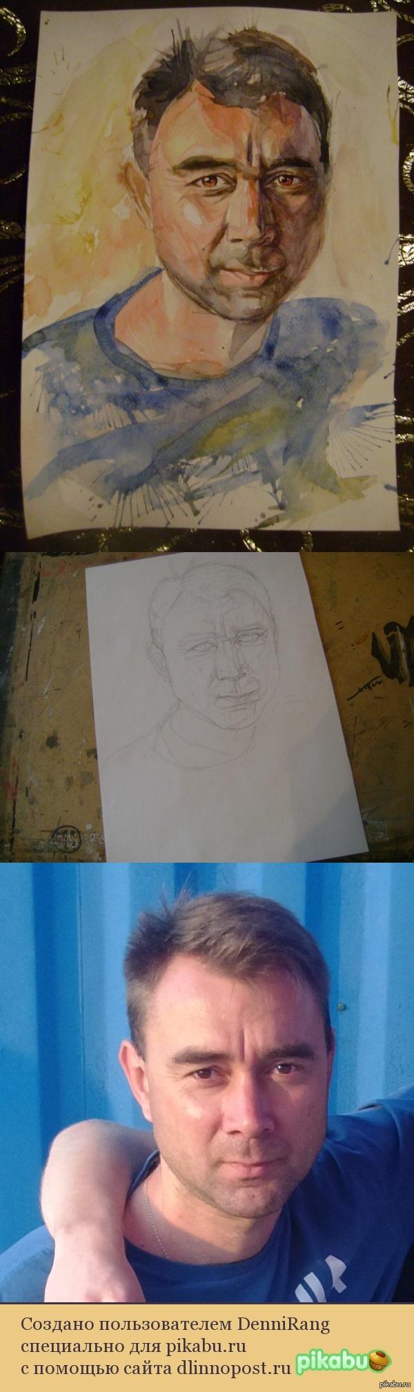 Попробовал нарисовать портрет акварелью) Не судите строго :) Прокомментируйте, пожалуйста, это мой второй портрет акварелью. Посоветуйте что-нибудь)