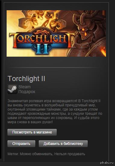 Steam:Torchlight II Отдам за пол цены, давно уже валяется без дела гифт.