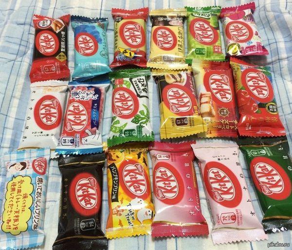 Прости, но ты живешь в России В Японии более 24 вкусов Кит Ката. Самые необычные: вассаби, зеленый чай и острый перец.