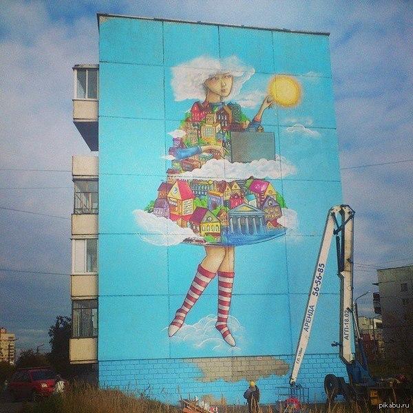 Граффити в Северодвинске Правда по соседству дом начинают строить и вид на рисунок через некоторое время может быть перекрыт