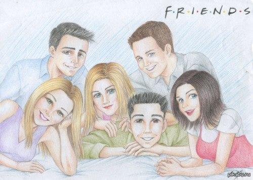 """Сериал """"Друзья"""". Нарисовала своих любимых героев: Джо, Фиби, Рейчел, Росс Чендлер и Моника. Очень глазастые получились)Не судите строго)"""