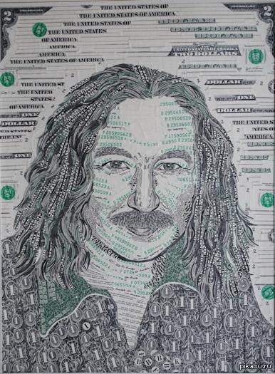 Денежный портрет Работа выполнена из обрезков американских долларовых купюр.