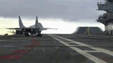 """Взлет МиГ-29К с авианосца """"Викрамадитья"""""""