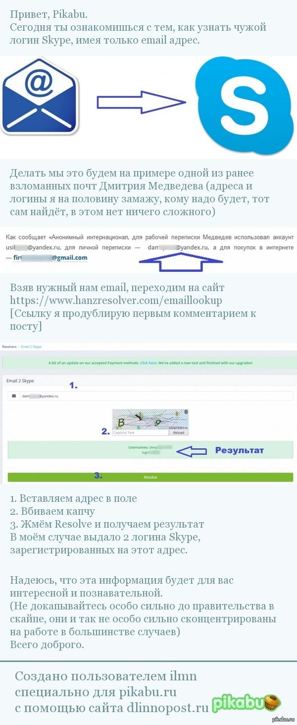 Skype Дмитрия Медведева или как вычислить логин скайпа, имея только почту.