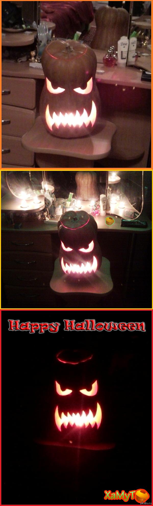Первая тыква Вот вам моя первая тыква для хеллоуина. Решил попробовать, в итоге самым сложным оказалось найти подходящую тыкву