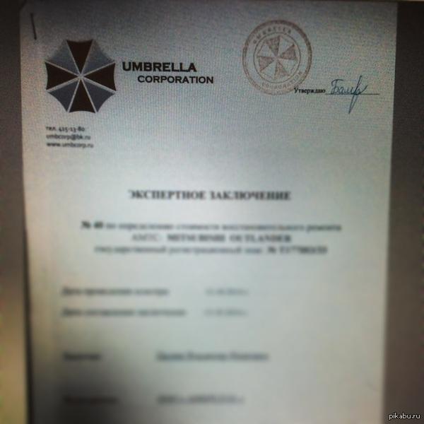 Umbrella corporation Вот такая автоэкспертиза есть у нас в России. Когда увидел, был в шоке.
