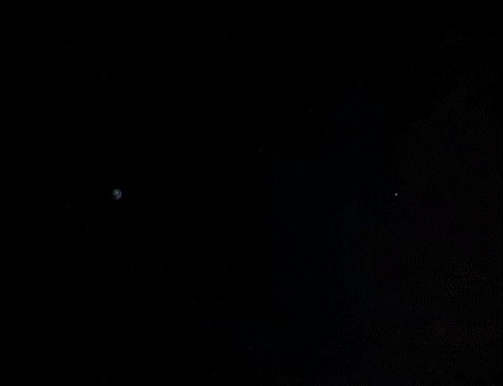 Скорость света наглядно Гипотетический фотон, скитающийся от Земли до Луны.  Все пропорции соблюдены.  Не так то уж и быстро, в масштабах Вселенной..
