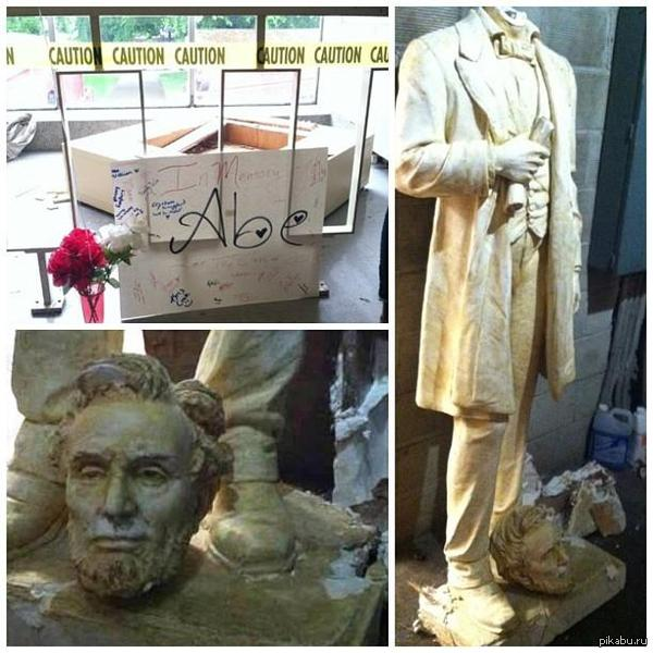 Неизвестные отпилили голову американскому Ленину (Линкольну) в Фергюсоне