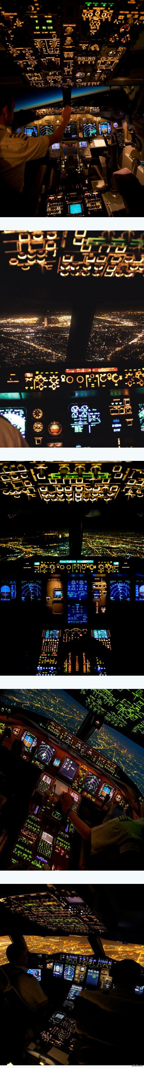 Ночной полет из кабины пилота