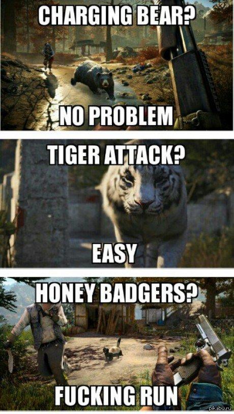 """Гайд по диким животным в Far Cry 4 """"Атакующий медведь? Нет проблем."""" """"Нападение тигра? Легко.""""   """"медоед? СЪЁБЫВАЕМ!"""""""