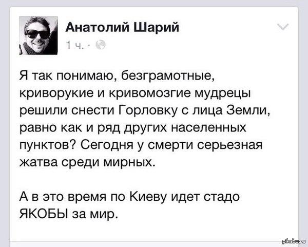 Анатолий Шарий насчет марша мира в Киеве.