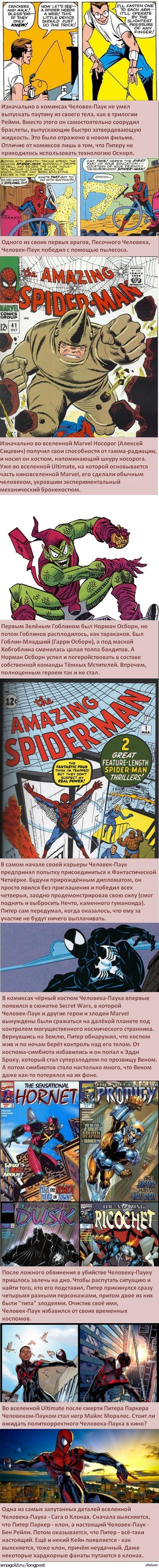 Факты о супергероях: Человек-Паук То, чего нет в фильмах. Следующий пост уже будет про Людей-Икс - про Паука я пока прочитал не так много, как о Кэпе или Халке.