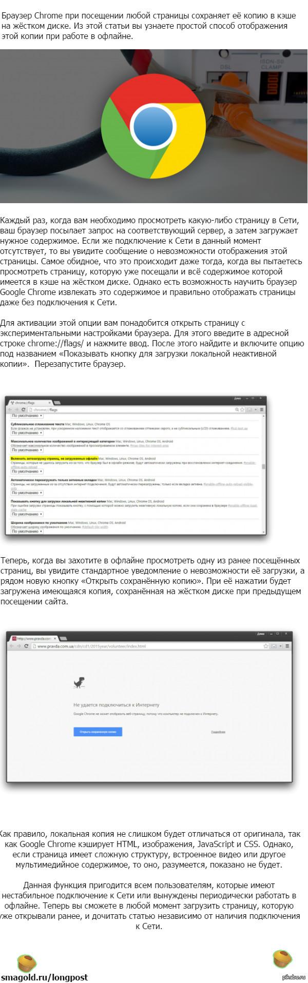 Как просматривать сайты в Google Chrome без подключения к Сети Автор статьи   Дмитрий Горчаков