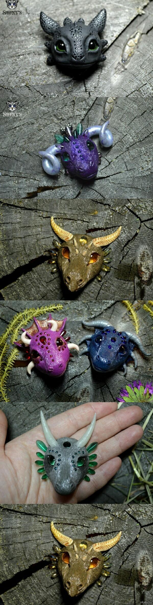 Ну и как же без драконов? ))) Ручная работа из полимерной глины) броши и кулоны