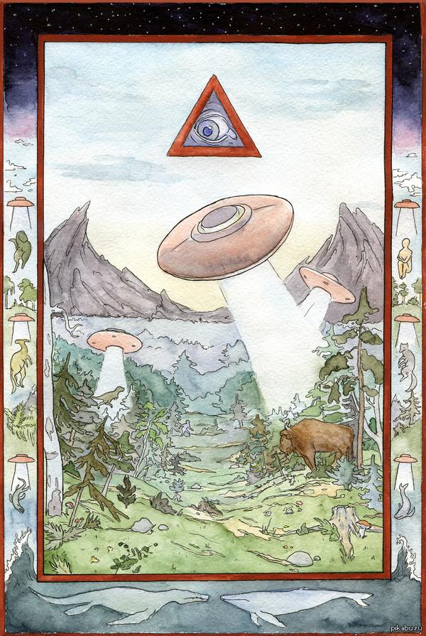 """""""Создание мира"""" Нарисовала альтернативное создание мира, не в обиду Дарвину и Билибину)"""