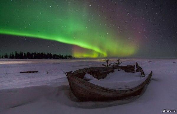 Северное сияние в Карелии И до нашей республики добралось уникальное атмосферное явление природы.