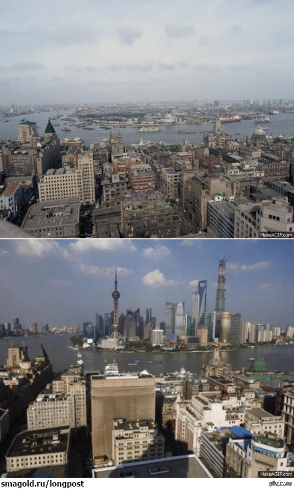 как изменился один из районов Шанхая с 1987 до 2013 года.