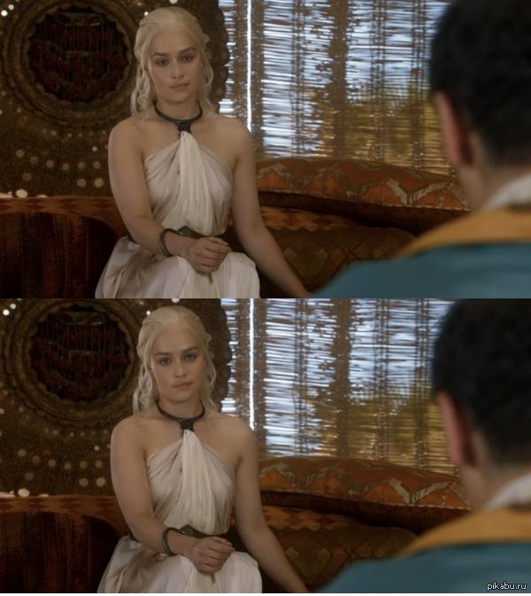В одном из эпизодов Дайнерис так надоело слушать собеседника, что она посмотрела в камеру с укором, как это бывает в ситкомах
