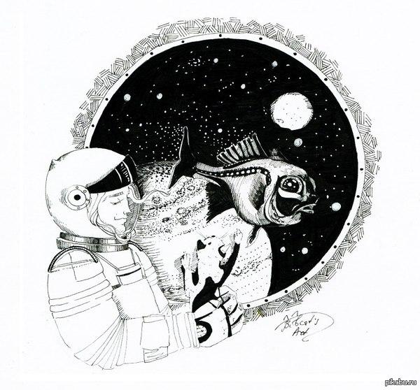 """Я слышал сегодня день котов?  Держите космического кота! Отличные посты часто теряются на фоне событий дня. Хороший, годный арт, лига добра поддержите!  Больше работ тут:  <a href=""""http://pikabu.ru/story/bocats_art_3218515"""">http://pikabu.ru/story/_3218515</a>"""