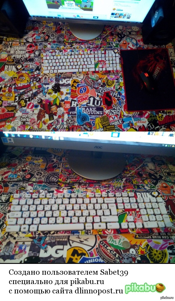 Обновил стол и клавиатуру. Самоклеющаяся лета и матовый лак. Фотографировал на любимый тапок.