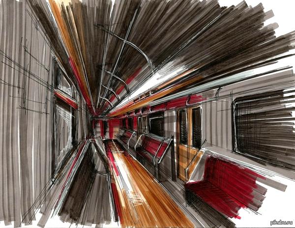 """Рисунок по мотивам к фотографии из этого поста <a href=""""http://shop-archive.ru/away/pikabu.ru/story/vagon_metro_3232832"""">http://shop-archive.ru/away/pikabu.ru/story/_3232832</a>"""