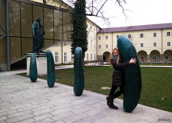 """Современное искусство в Австрии. Инсталляция """"Огурцы""""."""