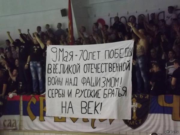 Банер сербских болельщиков. Где то чествуют фашистов, а где то помнят историю.  добавило размышлений о братских народах.