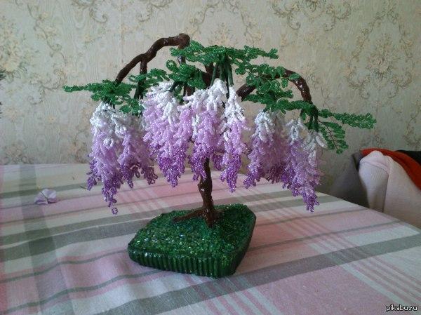 Глициния из бисера это маленькое деревце делалось почти год и то, дерево из него делала мама)) сфоткано на sony ericsson sk17i