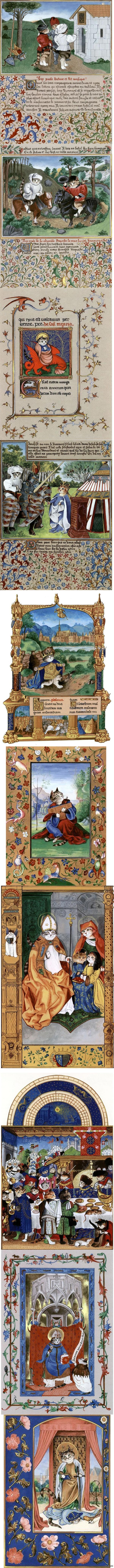 """Средневековые кошечки от Сьюзан Герберт. Из ее книги """"Medieval Cats"""" (1995)"""