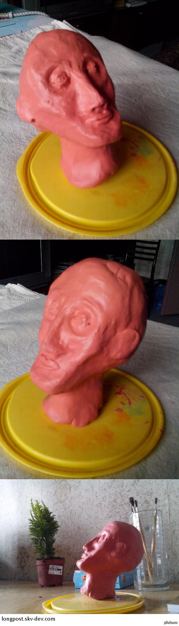 Первый опыт лепки. Скульптурный пластилин Странное чувство,когда трогаешь руками такую маленькую голову,которую сам же смастерил.  Скульптурный пластилин идеален для лепки, вроде и твёрдый, но податливы
