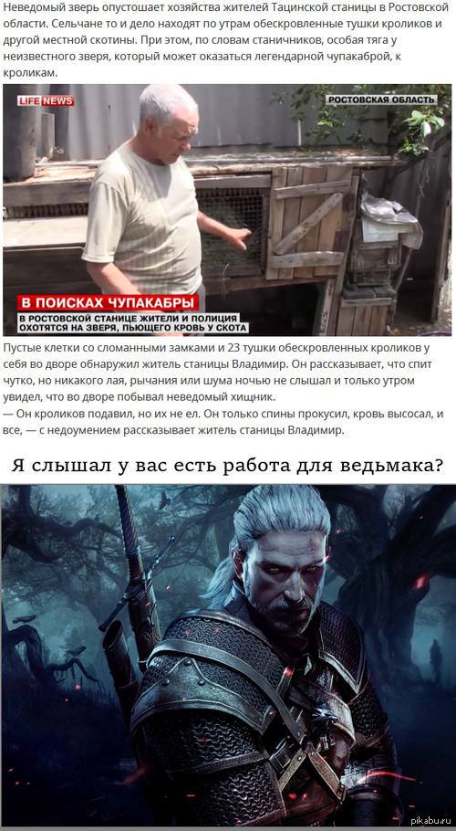 В Ростовской области ищут вампира, пожирающего кроликов. Ссылка на новость: http://lifenews.ru/news/155205