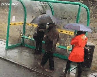 """""""Фух, можно убрать зонт и спокойно дождаться автобус"""""""