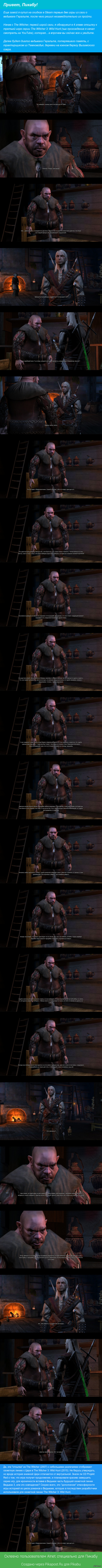 История, рассказанная трактирщиком из The Witcher (2007) Трактирщик из Темноводья рассказывает сюжетную линию The Witcher 3: Wild Hunt
