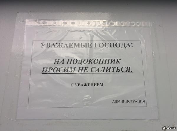 Объявление в местном ТЦ в туалете на подоконнике Уважаемые господа только и знают-с, что филей свой примостить на подоконник при посещении уборной в палатах торговых.