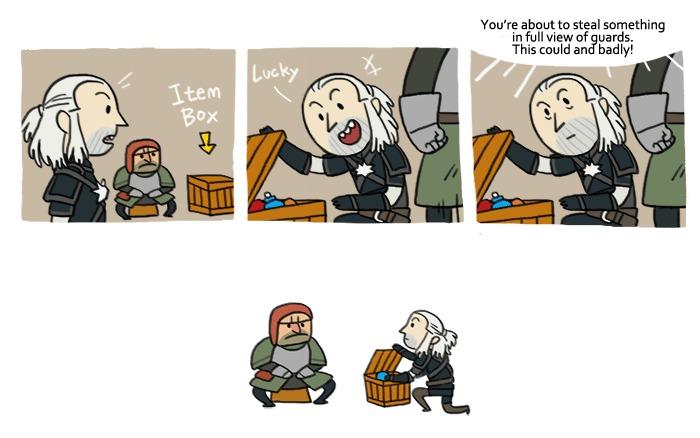 Witcher 3 когда хочешь что - то украсть. Witcher 3 когда хочешь что - то украсть. А стражник начинает палить.