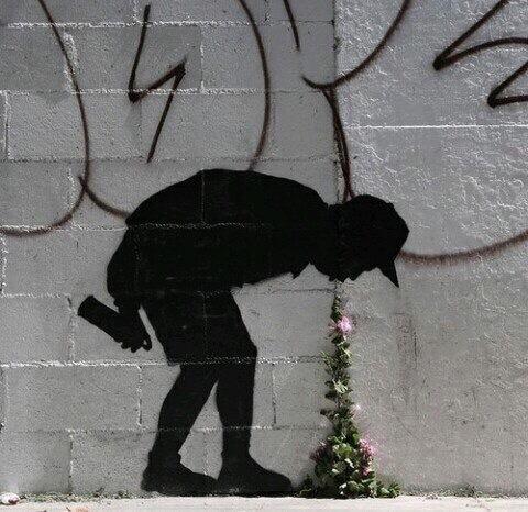 Граффити + природа Природа, Цветы, Растения, Граффити, Рисунок, Стена, Бэнкси