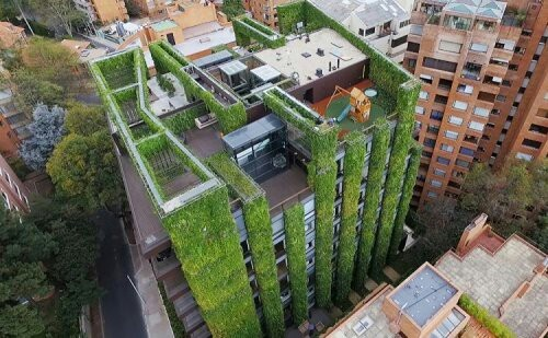 Самый большой вертикальный сад в мире сад, здание, экология, растениеводство, длиннопост, Колумбия