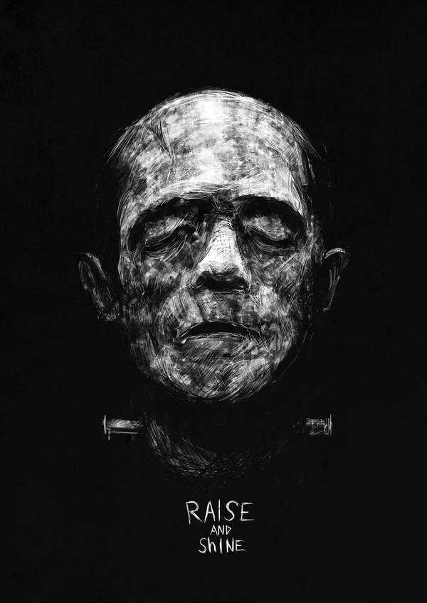 Моя серия рисунков Raise and shine (и raise не ошибка, так хотел)) монстр Франкенштейна, мумия, оборотни, Зомби, носферату, длиннопост