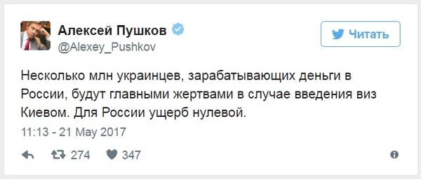 Для России ущерб нулевой. Украина, Россия, Алексей Пушков, twitter, RT, Политика